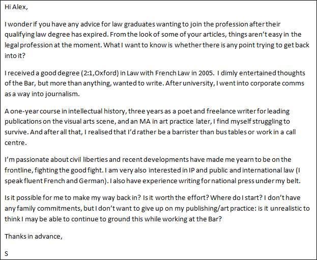 Advice i m struggling to survive in the arts and yearn for Mini pupillage covering letter