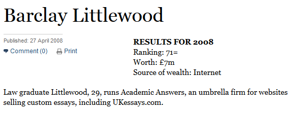 "non practising barrister behind controversial essay writing  amazing as littlewood s rise has been 438 000 still seems a lot to pay for the ""unlimited personal access to me"" being offered by the law graduate in"